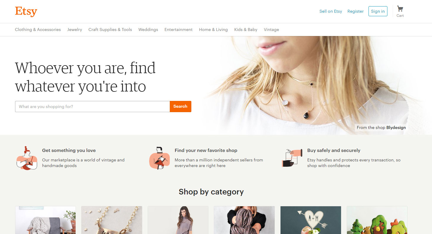 A screenshot of Etsy